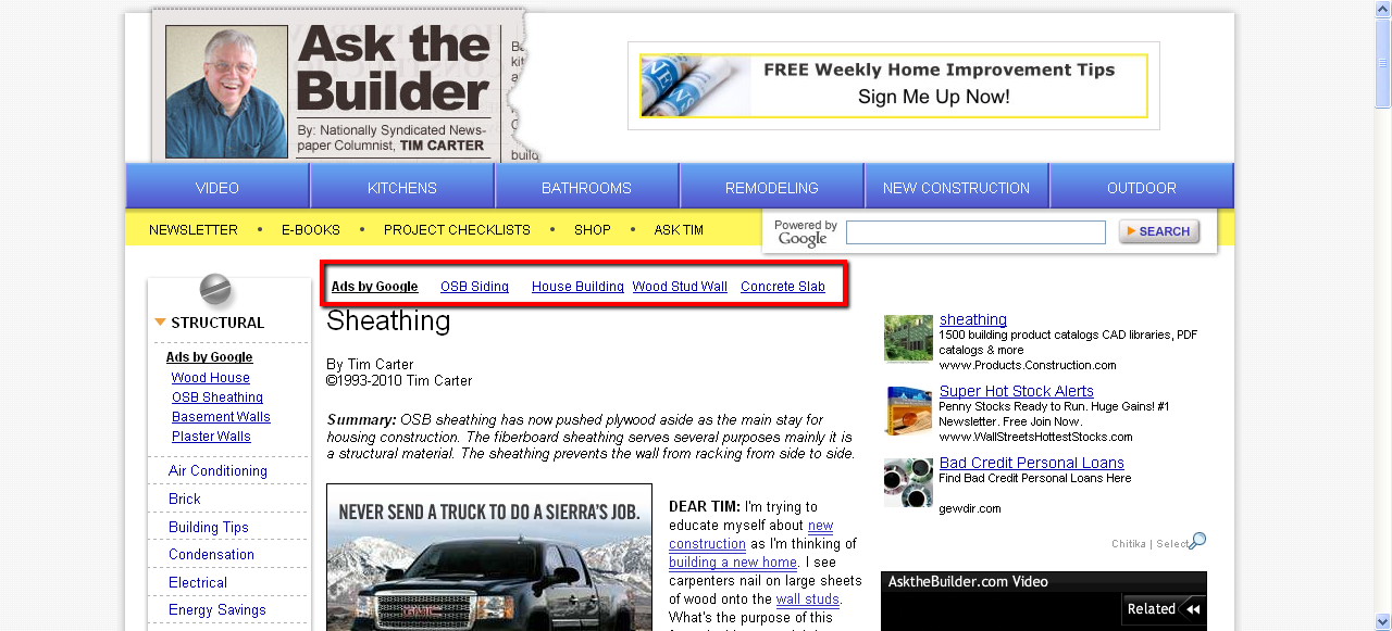 I t 0 n m i th ng trong doanh thu adsense for Ask the builder